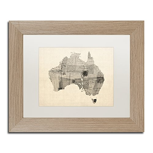 (Old Postcard Map of Australia by Michael Tompsett, White Matte, Birch Frame 11x14-Inch)