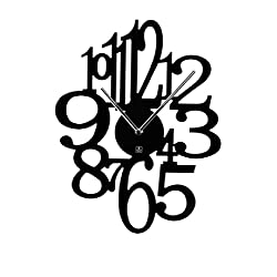 Wooden Wall Clock with Laser Cut Numbers and Metal Hands, 15