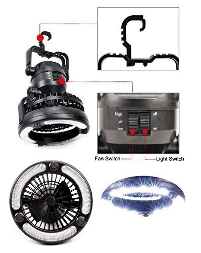 Deluxe Outdoor Camping Combo Led Lantern And Fan 2 In 1