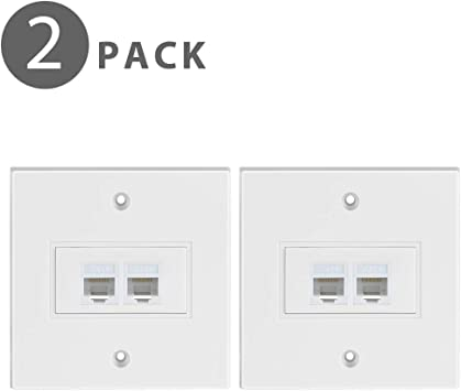 Tnp Ethernet Network Rj45 Faceplate Faceplate Wall Plate Dual 2 Port Rj45 Cat6 Cat5e Cat5 Connector Socket Wiring Plug Jack Decorative Face Cover Outlet Mount Panel Female To Female 2 Pack