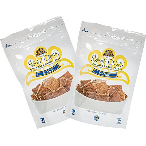 Skinny Crisps Say Cheese Low Carb Gluten Free Gourmet Crackers 4 Ounce Bag (Pack of 2) -