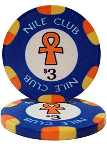 - Bry Belly CPNI-$3 25 Roll of 25 - $3 Nile Club 10 Gram Ceramic Poker Chip