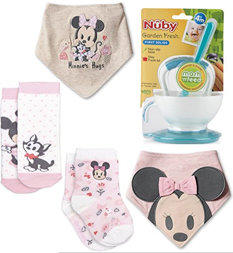 Minnie Mouse Hugs Bib & Sock Set for Baby 2-Pack Disney Pink Sock Set with Figaro the Kitten characters for Baby Soft Collection + Mash N' Feed Bowl with Spoon - Tigger Walt Disney