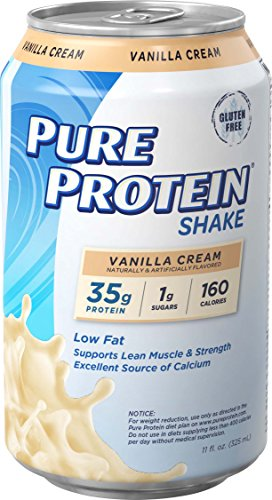 Pure Protein Shakes, Ready to Drink and Convenient for Meal Replacement, Low Carb, Gluten Free, Vanilla Cream, 11 oz, 12 Count ()