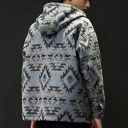 f5d6737a Hunzed Men【Printed Zipper Hooded Woolen Coat】Mens Winter Fashion Casual  Loose Pocket Overwear