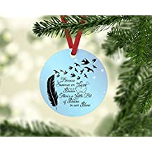 "Because Someone We Love is in Heaven Christmas Ornament 3"" diameter aluminum Flat Handmade"