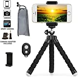 Phone Tripod, Transcend11 iPhone Tripod Flexible Phone Stand with Remote Shutter Universal Clip Mini Tripod for iPhone Android Phone Digital Camera GoPro Hero
