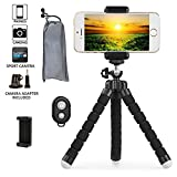 Phone Tripod - Transcend11 iPhone Tripod Flexible Phone Stand with Remote Shutter Universal Clip Mini Tripod for iPhone Android Phone Digital Camera GoPro Hero