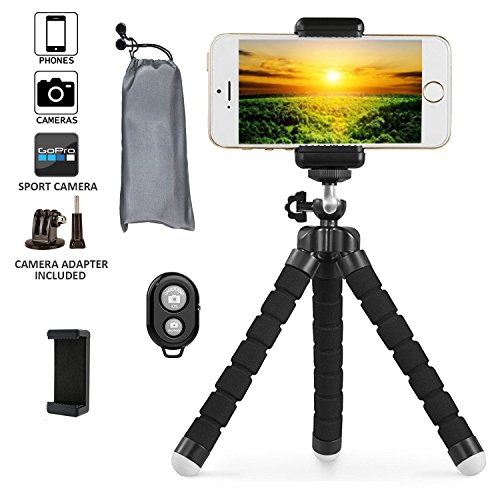 Phone Tripod  Transcend11 Iphone Tripod Flexible Phone Stand With Remote Shutter Universal Clip Mini Tripod For Iphone Android Phone Digital Camera Gopro Hero