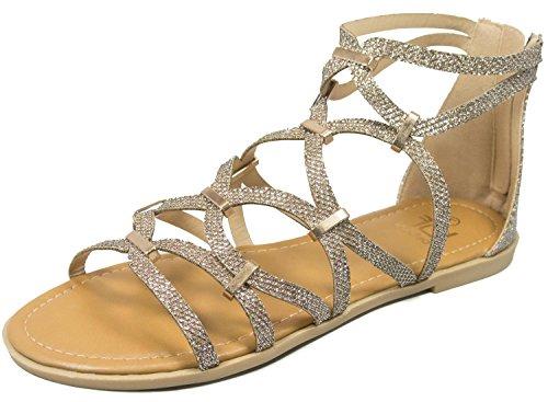 Bf Betani Mujeres Metallic Glitter Recorte Gladiator Flat Sandal Light Gold