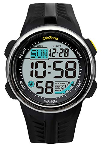 Time Countdown Dual Timer Stopwatch - Digital Sports Watch Water Resistant 60 Lap 3 Alarm Stopwatch Dual Time Black Men's Watch