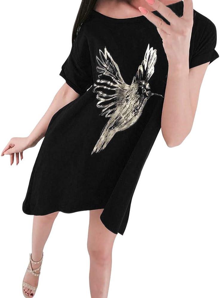 Geilisungren Mujeres Fuera del Hombro impresión del Panel Vestido Camisa Blusa Manga Corta Suelta Mujer Vestido Cintura Alta Faldas(Negro,S): Amazon.es: Ropa y accesorios