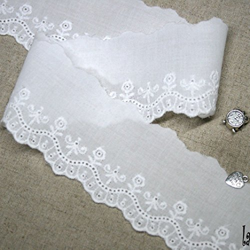 14Yds Broderie Anglaise Eyelet Cotton lace trim 5.3cm YH1063