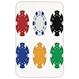 Rectangular Area Rug Mat Rug,Poker Tournament Decorations,Collection of Colored Casino Chips Realistic Tokens Set Image Decorative,Multicolor,Home Decor Mat with Non Slip Backing