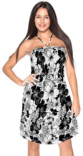Resort Tropical Wear (La Leela Printed swimwear aloha hawaiian bride cruise resort lounge vacation party work Sundress, Black, One Size)