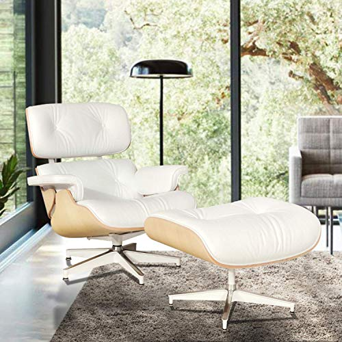 (Lounge Chair and Ottoman, Mid Century Modern Classic Design, Natural Leather, High-Density Wood (White)