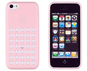 DandyCase Premium TPU Heart Holes Case for Apple iPhone 5C - Includes DandyCase Keychain Screen Cleaner (Light Pink)