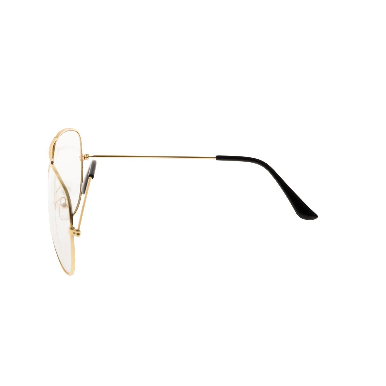 Embalaje forepin reg; Montura Gafas de Aviador para Unisex Hombre y Mujer con Montura de Metal-Acero Fino Retro Vintage Lente Transparente Visi/ón Clara