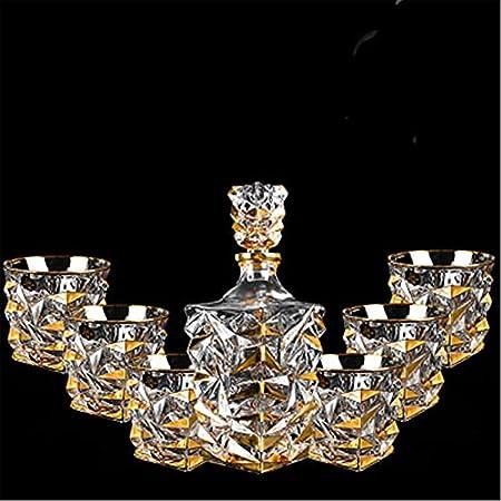 SuDeLLong Juego de Vasos y Jarra de Whisky Whisky Decanter & Glassesset de 6 Gafas Whisky Decanter Antiguo Moda Whisky Gafas (Color : Clear, Size : 7 Piece Set)