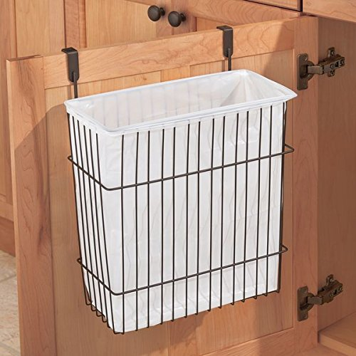 mDesign Hanging Over Door Kitchen Storage Organizer Basket Bin/Trash Can - Hangs Over Cabinet Doors - Solid Steel Wire with Bronze Finish