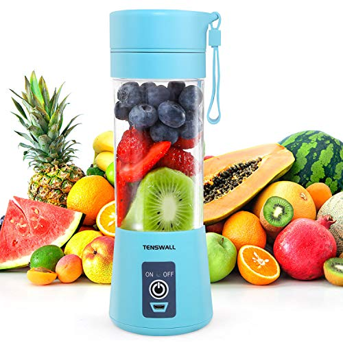 TENSWALL Portable Mini Blender, 380ml Personal Blender Smoothie Maker Fruit Mixing Machine with Six Blades, Mini Jucier Cup USB Rechargeable for Home, Office, Sports, Outdoors-Blue
