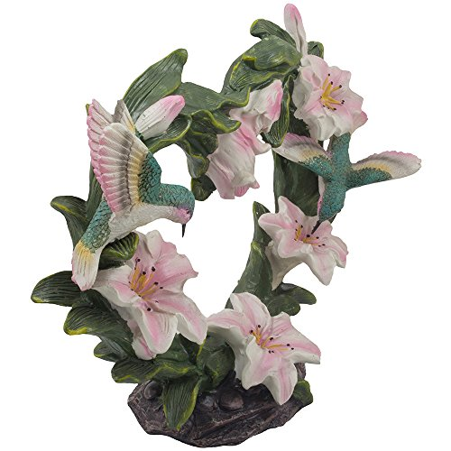 Beautiful Hummingbirds on Heart of Lilies Statue In Decorative Springtime Flower Figurines Home Decor As Floral Gifts for Mom on Mother's Day or Romantic Valentine's Day Gift