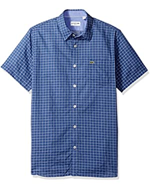 Men's Short Sleeve Indigo Jacquard Check