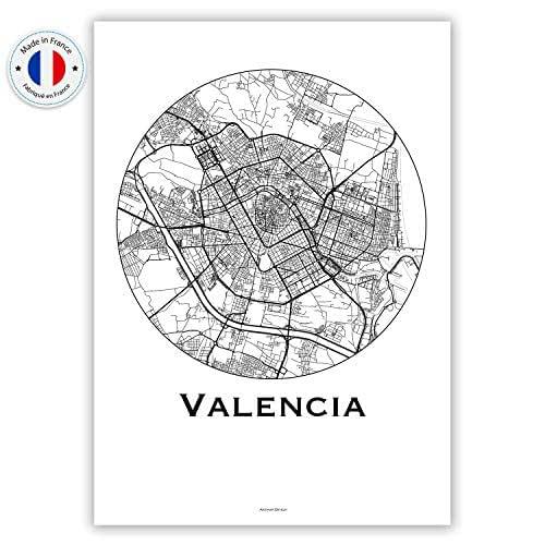 Cartel Valencia España Minimalista Mapa - City Map