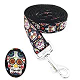 [AIDIYA]Unique Design Print Skull and Crossbones dog collar and lead sets for Luxury Dogs Leads Dog Lead Christmas Handle Strong (4 Feet, 1'' Width)
