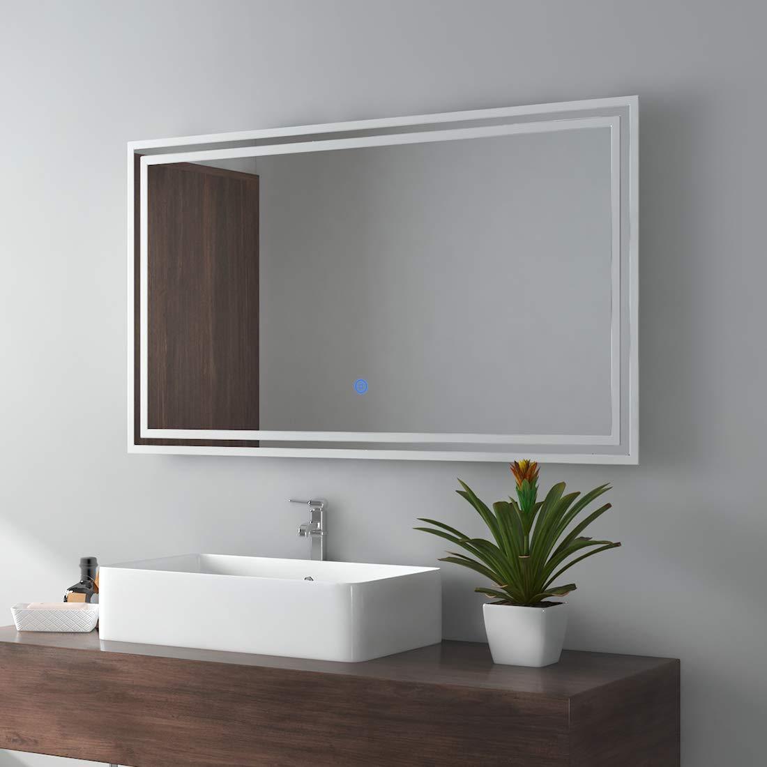 Touch-Schalter LED Badspiegel 80x60cm Beleuchtung Badezimmerspiegel Wandspiegel mit Bluetooth 4.1 Lautsprecher Beschlagfrei Uhr