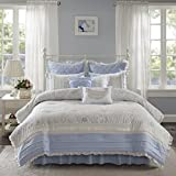 Madison Park Mirabelle 9 Piece Cotton Percale Comforter Set Blue Queen