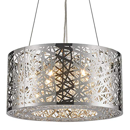 Worldwide Lighting Aramis Collection 6 Light Chrome Finish and Clear Crystal Drum Round Chandelier 16