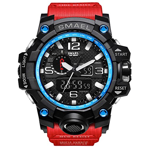 Ireloj Men's Large Face Dual Dial Analog Digital Quartz Military Sport Watch Water Resistant-Red