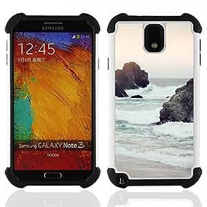 For Samsung Galaxy Note3 N9000 N9008V N9009 - sunset sea sand waves sky nature sun Dual Layer caso de Shell HUELGA Impacto pata de cabra con im????genes gr????ficas Steam - Funny Shop -