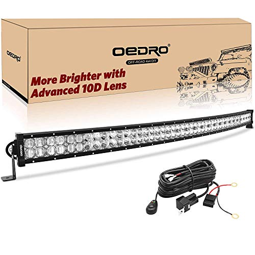 LED Light Bar 50inch Curved 600W 42540LM OEDRO Upgraded Spot & Flood Combo Beam with 8ft Wiring Harness IP68 WATERPROOF for Fog Driving Offroad Pickup Boat Jeep SUV ATV Truck Light Bar, 3-Yr Warranty