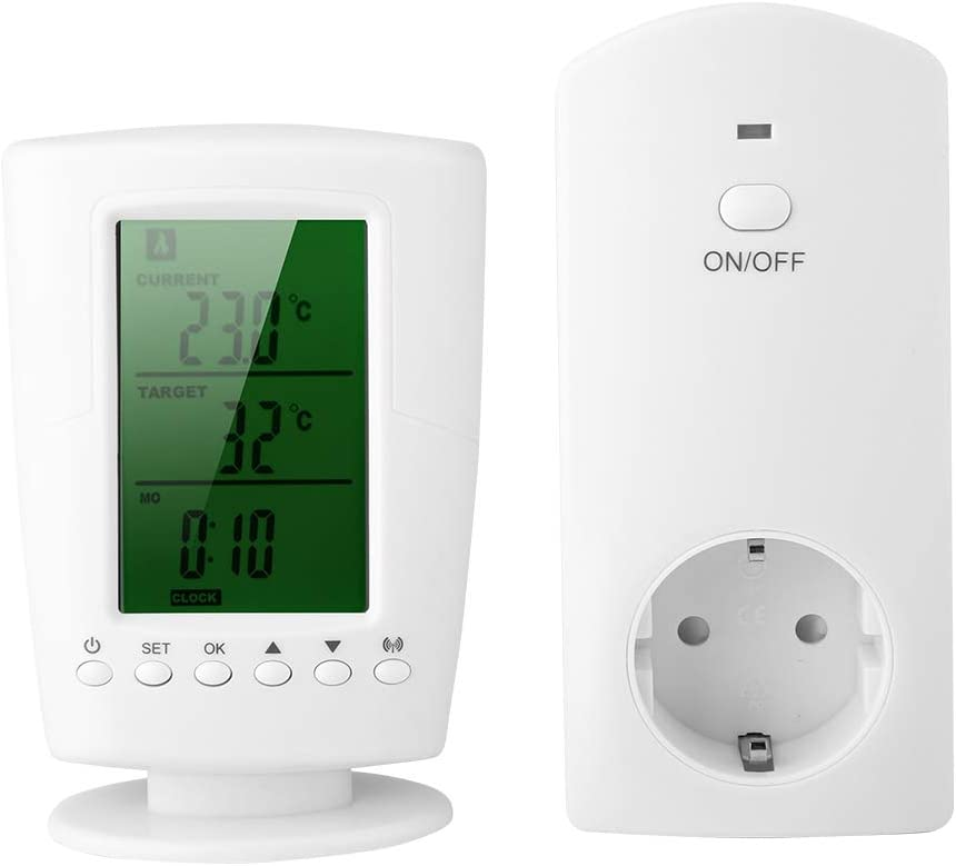 Vbestlife Enchufes Inalámbricos Inteligentes con Control Remoto Programable y Toma de Corriente de Control de Temperatura para el Hogar(Blanco)
