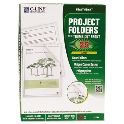 C-Line Products - C-Line - Biodegradable Project Folders, Polypropylene, Letter Size, 25/Box - Sold As 1 Box - Sturdy yet earth-friendly polypropylene project folders. - Biodegrades in landfills while leaving no toxic residue. - Heavyweight, archival quality. - Open on two sides; thumb cut front. - Unique corner design allows folders to expand to hold up to 100 pages.
