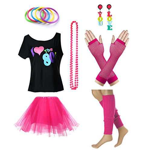 TDmall Clothing Series Women's I Love The 80's T-Shirt 80s Outfit accessories (S/M, Hot Pink) for $<!--$28.90-->