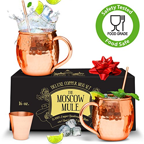 Benicci Moscow Mule Copper Mugs - Set of 2 - 100% HANDCRAFTED - Food Safe Pure Solid Unlined Copper Mugs 16 oz Gift Set with BONUS: Highest Quality 2 Cocktail Copper Straws and 1 Shot Glass