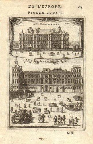 CHÂTEAUX DE MADRID. in Neuilly, Paris (demolished c1790) & in Spain. MALLET - 1683 - old print - antique print - vintage print - art picture prints of Paris