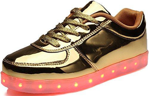 Donne Odema Lowtop Ricarica Usb Scarpe Led Lampeggiante Lace Up Moda Sneakers Oro