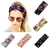 Twinfree 5 Pack Women Headband Boho Flower Style Cross Head Wrap Hair Band
