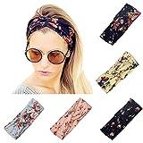 Twinfree 5 Pack Women Headband Boho Flower Style Cross Head Wrap Hair B