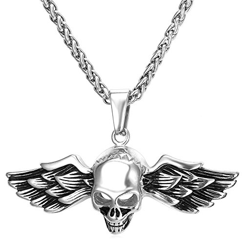 (U7 Demon Wing Biker Gothic Skull Pendant Necklace Stainless Steel Cool Men Necklace )