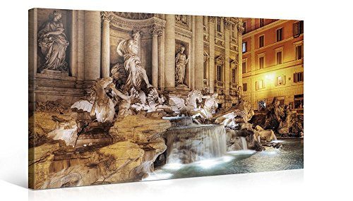 Fountain Trevi - Large Canvas Print Wall Art - TREVI FOUNTAIN - 40x20 Inch Cityscape Canvas Picture Stretched On A Wooden Frame - Giclee Canvas Printing - Hanging Wall Deco Picture / e3655