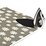 Encasa Homes Padded Ironing Mat (47'' x 28'') with Silicone Iron Rest - Daisy Flower
