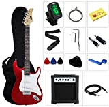 Full Size Electric Guitar with Amp, Case and Accessories Pack Beginner Starter Package - Metallic Red