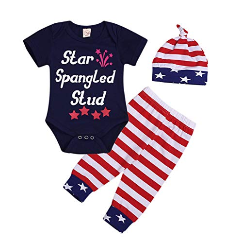 Mini honey 4th of July Infant Toddler Baby Boy Girl My First 4th Romper+American Flag Stars Stripes Pant 2 Pcs Cothes (6-12 Months, Black-Star)