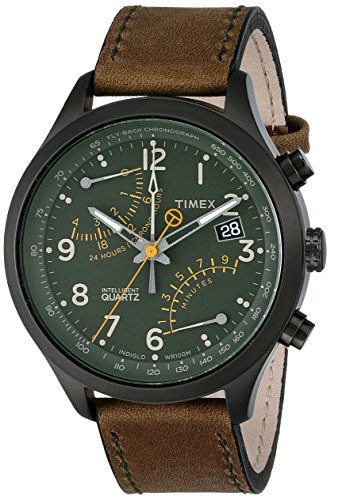 Timex Men's T2P381 Stainless Steel Watch with Olive Leather Band