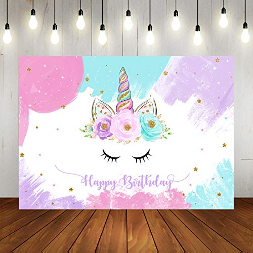 Unicorn Party Photo Backdrop Girl's Happy 1st Birthday Photography Background Colorful Stars Floral Cake Table Decorations Banner Photo Studio Props 7x5ft